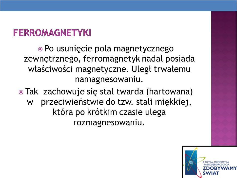 Po usunięcie pola magnetycznego zewnętrznego, ferromagnetyk nadal posiada właściwości magnetyczne.