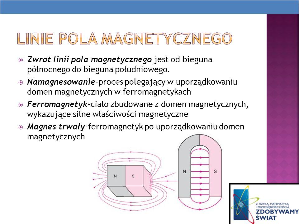 Zwrot linii pola magnetycznego jest od bieguna północnego do bieguna południowego.
