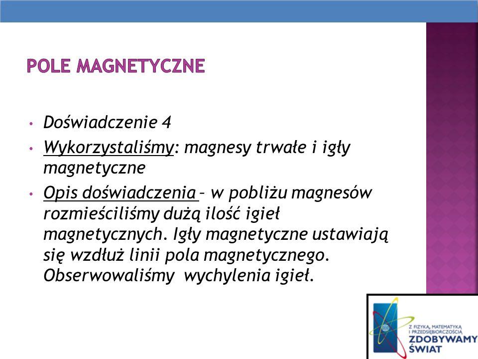 Doświadczenie 4 Wykorzystaliśmy: magnesy trwałe i igły magnetyczne Opis doświadczenia – w pobliżu magnesów rozmieściliśmy dużą ilość igieł magnetycznych.