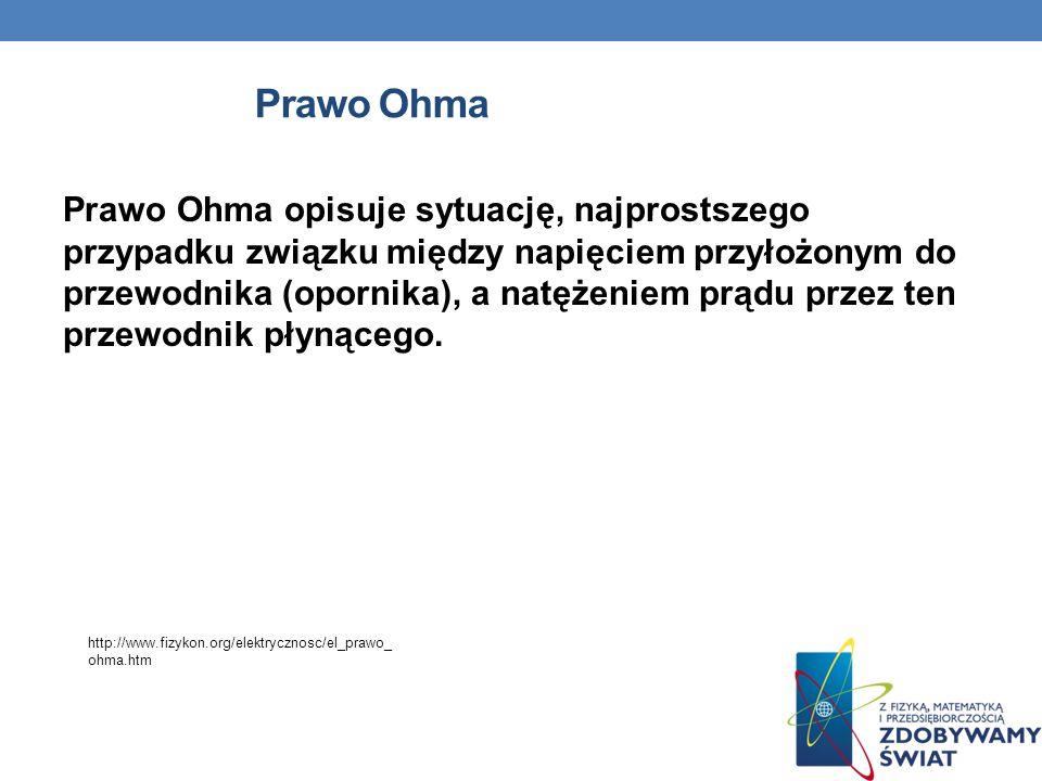 Prawo Ohma Prawo Ohma opisuje sytuację, najprostszego przypadku związku między napięciem przyłożonym do przewodnika (opornika), a natężeniem prądu przez ten przewodnik płynącego.