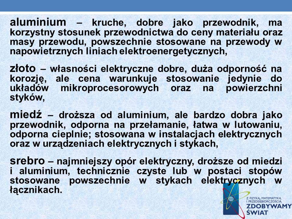 aluminium – kruche, dobre jako przewodnik, ma korzystny stosunek przewodnictwa do ceny materiału oraz masy przewodu, powszechnie stosowane na przewody
