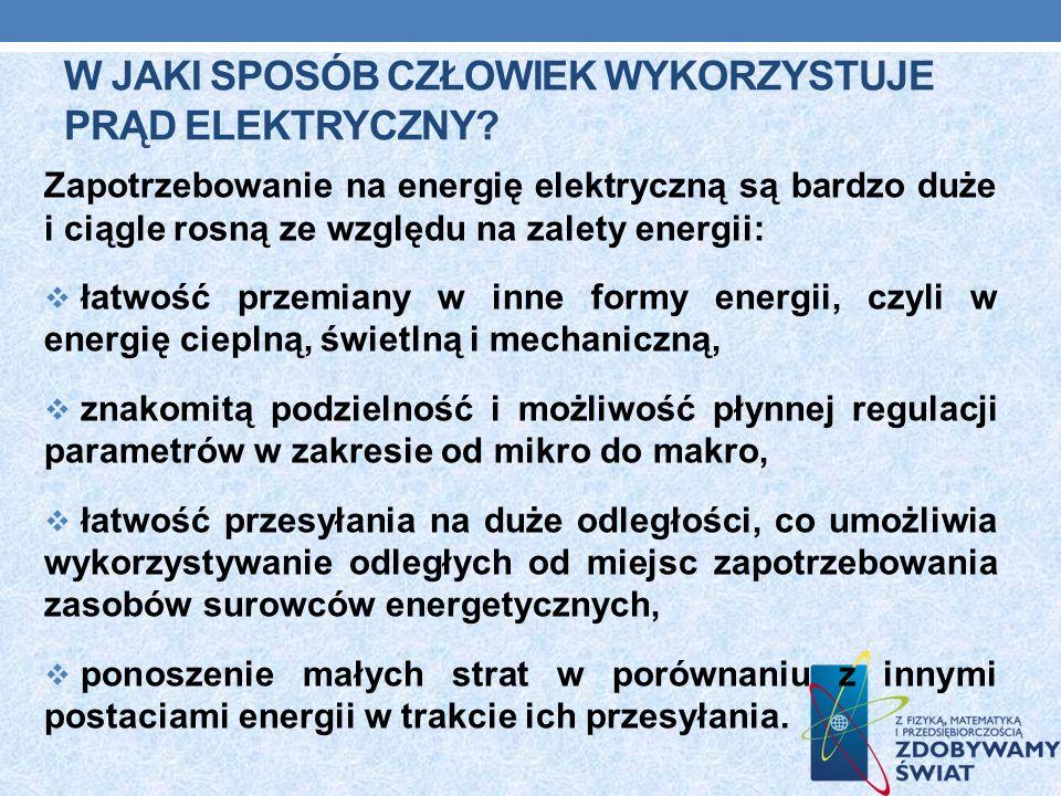 W JAKI SPOSÓB CZŁOWIEK WYKORZYSTUJE PRĄD ELEKTRYCZNY? Zapotrzebowanie na energię elektryczną są bardzo duże i ciągle rosną ze względu na zalety energi