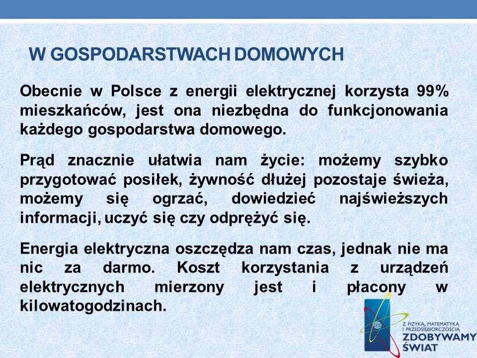 W GOSPODARSTWACH DOMOWYCH Obecnie w Polsce z energii elektrycznej korzysta 99% mieszkańców, jest ona niezbędna do funkcjonowania każdego gospodarstwa