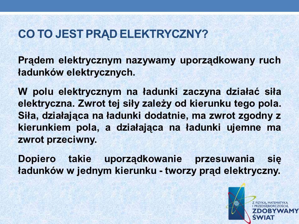 CO TO JEST PRĄD ELEKTRYCZNY? Prądem elektrycznym nazywamy uporządkowany ruch ładunków elektrycznych. W polu elektrycznym na ładunki zaczyna działać si