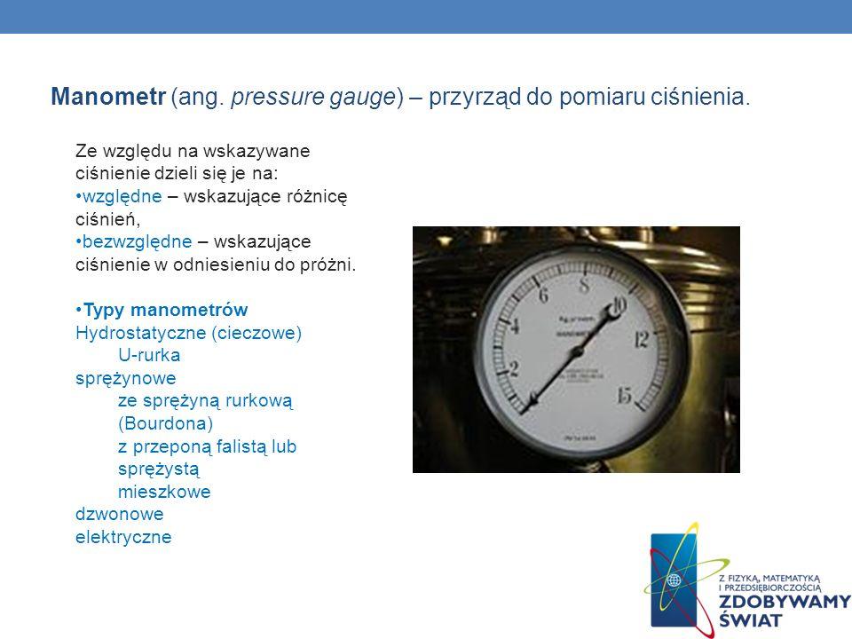 Manometr (ang. pressure gauge) – przyrząd do pomiaru ciśnienia. Ze względu na wskazywane ciśnienie dzieli się je na: względne – wskazujące różnicę ciś