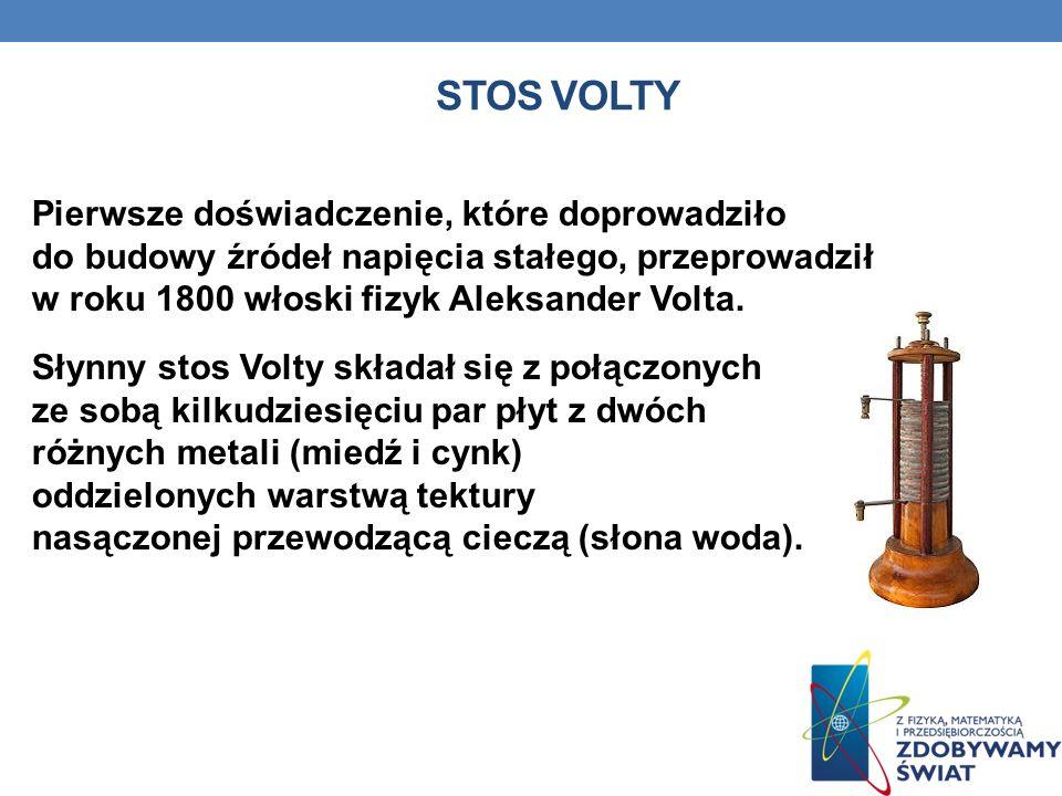 STOS VOLTY Pierwsze doświadczenie, które doprowadziło do budowy źródeł napięcia stałego, przeprowadził w roku 1800 włoski fizyk Aleksander Volta. Słyn