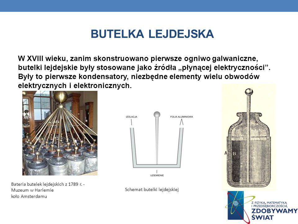 BUTELKA LEJDEJSKA W XVIII wieku, zanim skonstruowano pierwsze ogniwo galwaniczne, butelki lejdejskie były stosowane jako źródła płynącej elektrycznośc