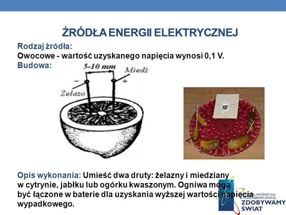 ŹRÓDŁA ENERGII ELEKTRYCZNEJ Rodzaj źródła: Owocowe - wartość uzyskanego napięcia wynosi 0,1 V. Budowa: Opis wykonania: Umieść dwa druty: żelazny i mie