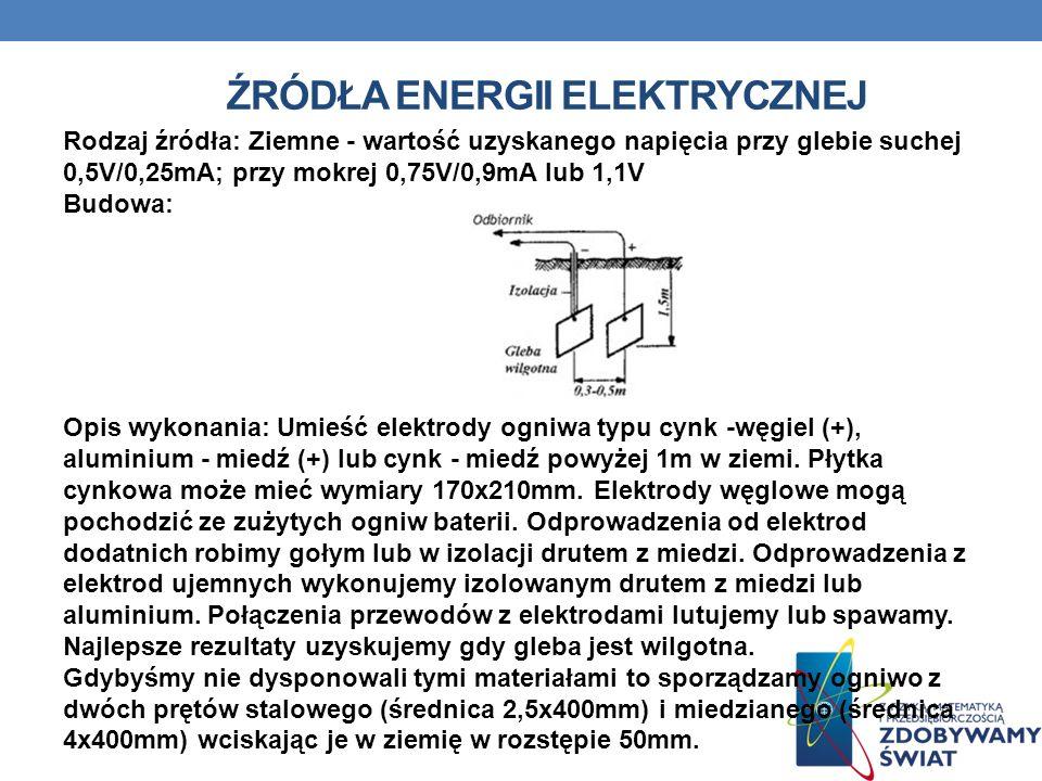 ŹRÓDŁA ENERGII ELEKTRYCZNEJ Rodzaj źródła: Ziemne - wartość uzyskanego napięcia przy glebie suchej 0,5V/0,25mA; przy mokrej 0,75V/0,9mA lub 1,1V Budow