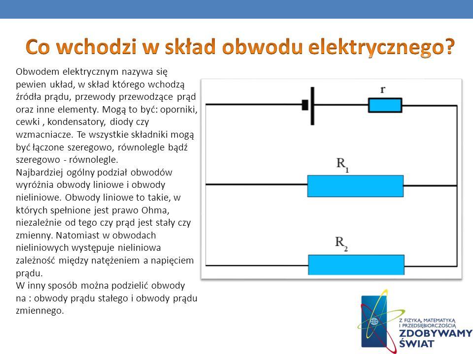 Obwodem elektrycznym nazywa się pewien układ, w skład którego wchodzą źródła prądu, przewody przewodzące prąd oraz inne elementy. Mogą to być: opornik