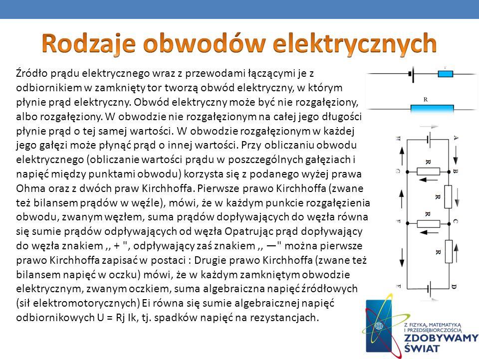 Źródło prądu elektrycznego wraz z przewodami łączącymi je z odbiornikiem w zamknięty tor tworzą obwód elektryczny, w którym płynie prąd elektryczny. O