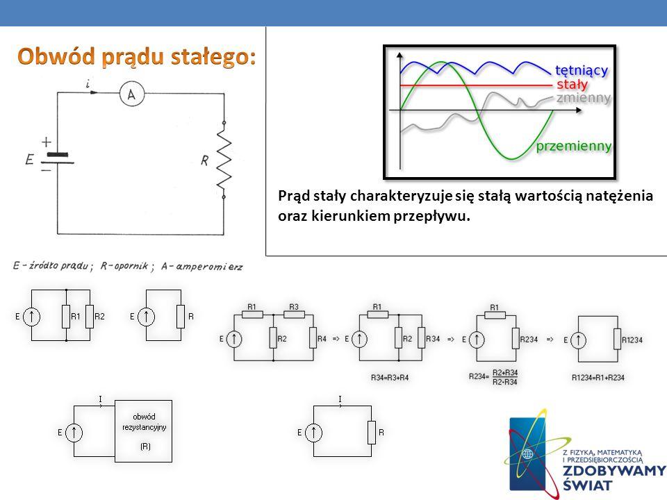 Prąd stały charakteryzuje się stałą wartością natężenia oraz kierunkiem przepływu.
