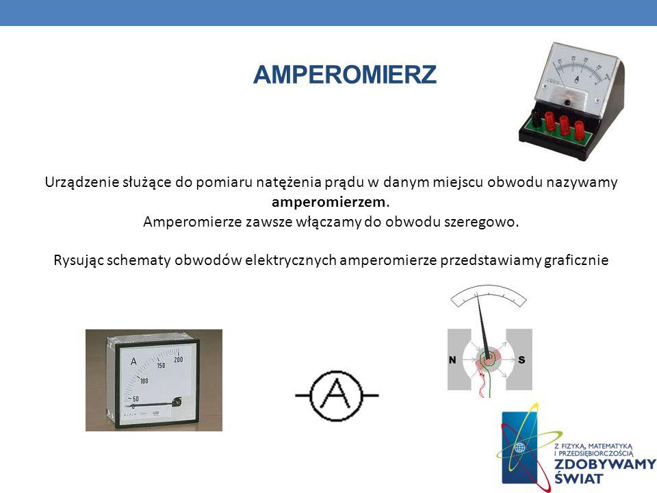 AMPEROMIERZ Urządzenie służące do pomiaru natężenia prądu w danym miejscu obwodu nazywamy amperomierzem. Amperomierze zawsze włączamy do obwodu szereg
