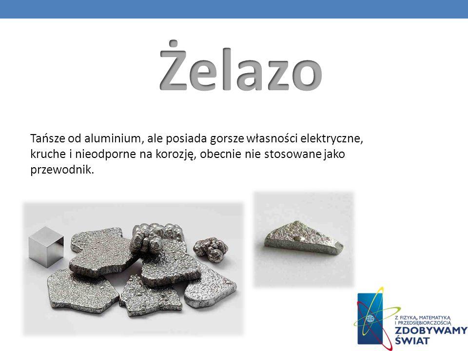 Tańsze od aluminium, ale posiada gorsze własności elektryczne, kruche i nieodporne na korozję, obecnie nie stosowane jako przewodnik.