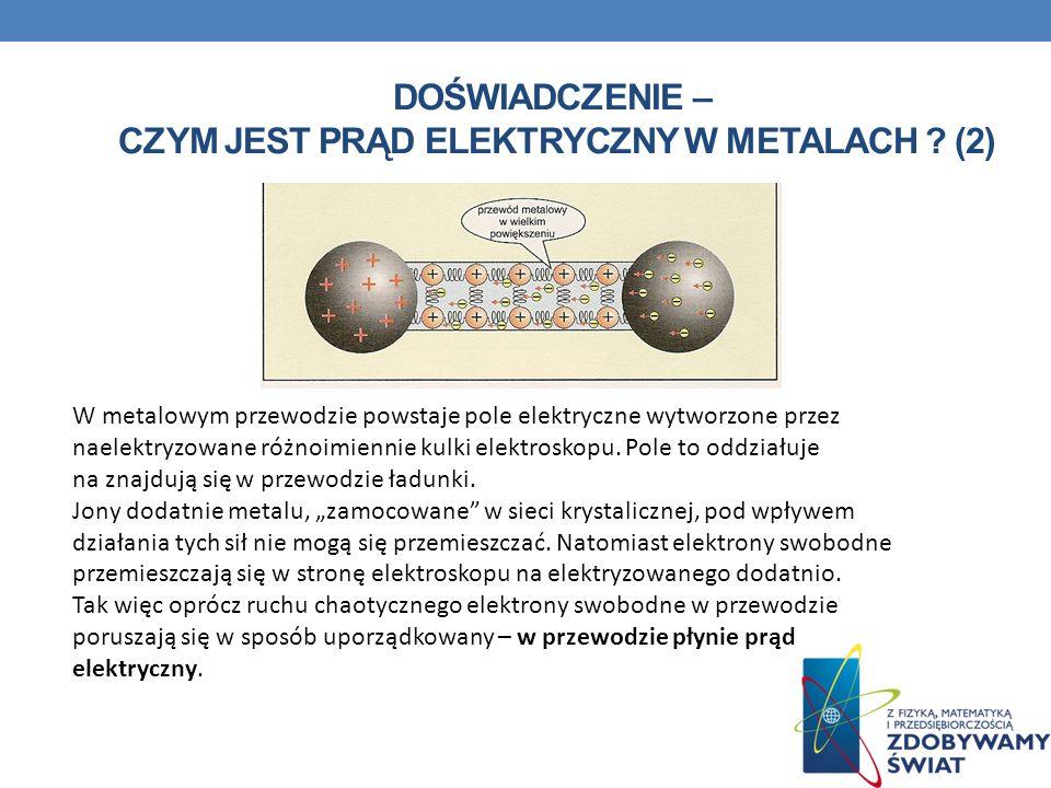 DOŚWIADCZENIE – CZYM JEST PRĄD ELEKTRYCZNY W METALACH ? (2) W metalowym przewodzie powstaje pole elektryczne wytworzone przez naelektryzowane różnoimi