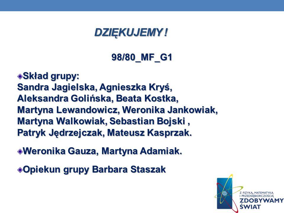 DZIĘKUJEMY ! 98/80_MF_G1 Skład grupy: Sandra Jagielska, Agnieszka Kryś, Aleksandra Golińska, Beata Kostka, Martyna Lewandowicz, Weronika Jankowiak, Ma