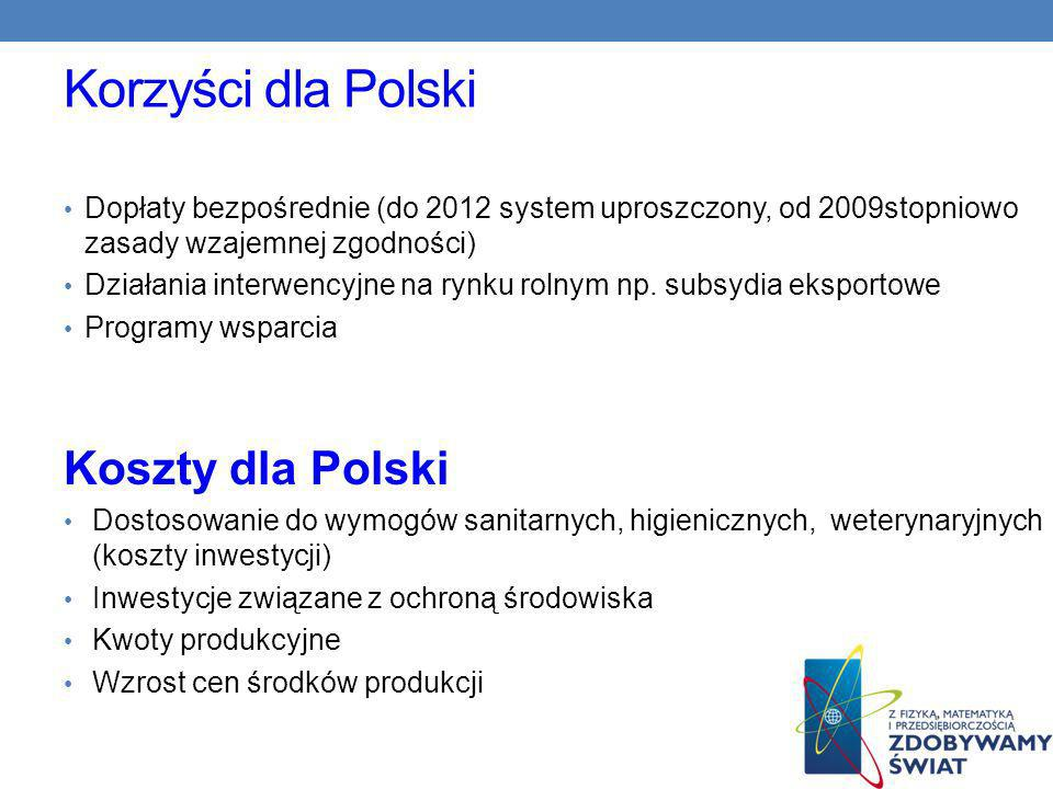 Korzyści dla Polski Dopłaty bezpośrednie (do 2012 system uproszczony, od 2009stopniowo zasady wzajemnej zgodności) Działania interwencyjne na rynku rolnym np.