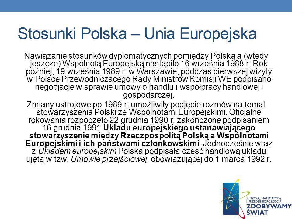 Stosunki Polska – Unia Europejska Nawiązanie stosunków dyplomatycznych pomiędzy Polską a (wtedy jeszcze) Wspólnotą Europejską nastąpiło 16 września 1988 r.