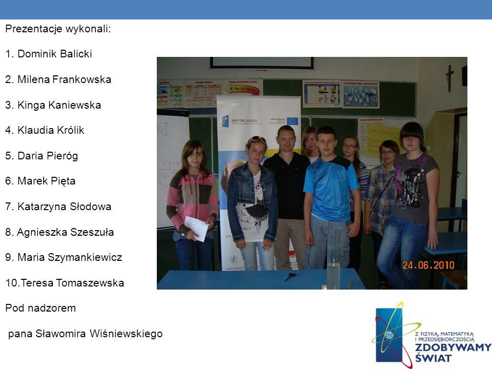 Prezentacje wykonali: 1. Dominik Balicki 2. Milena Frankowska 3.