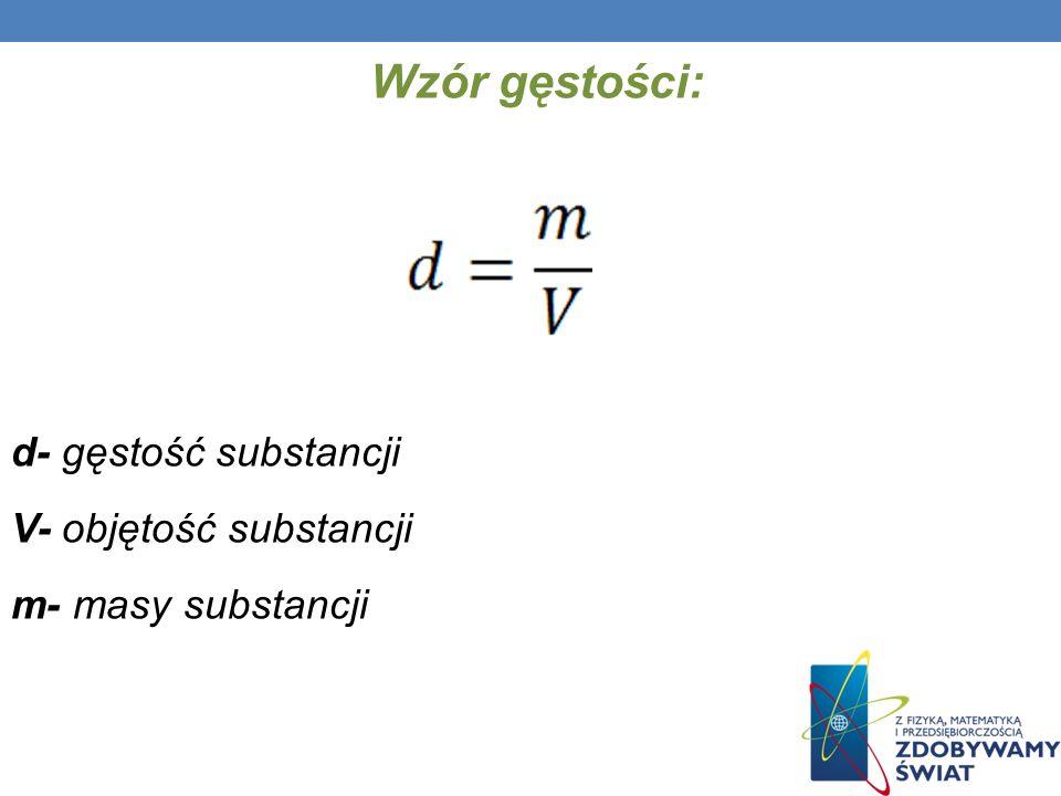 Wzór gęstości: d- gęstość substancji V- objętość substancji m- masy substancji
