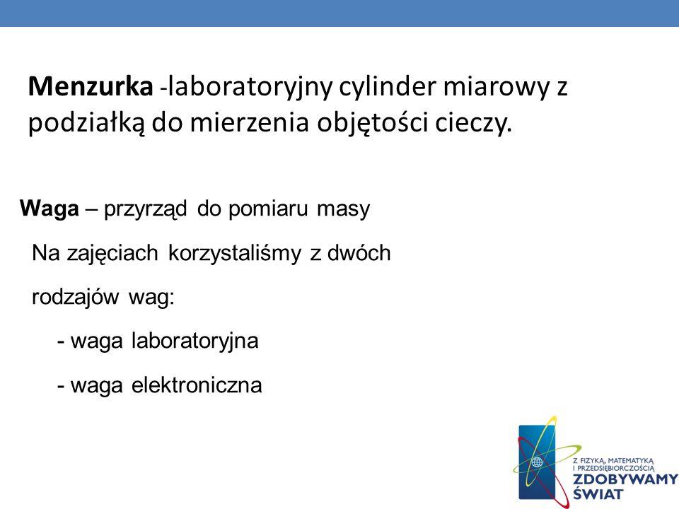 Menzurka - laboratoryjny cylinder miarowy z podziałką do mierzenia objętości cieczy.