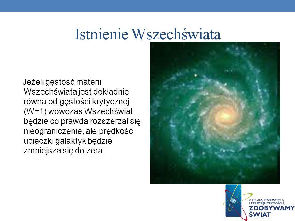 Istnienie Wszechświata Jeżeli gęstość materii Wszechświata jest dokładnie równa od gęstości krytycznej (W=1) wówczas Wszechświat będzie co prawda rozs