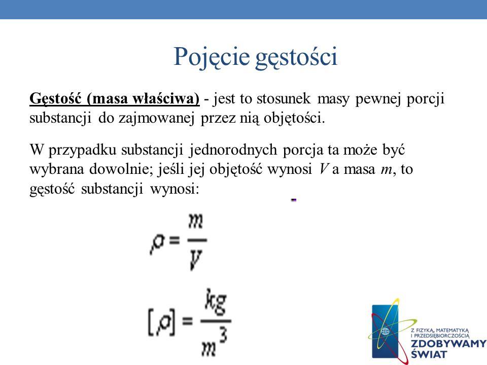 Pojęcie gęstości Gęstość (masa właściwa) - jest to stosunek masy pewnej porcji substancji do zajmowanej przez nią objętości. W przypadku substancji je