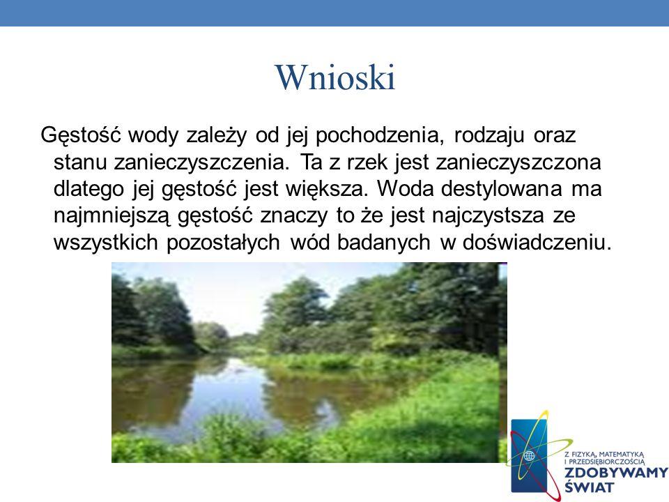 Wnioski Gęstość wody zależy od jej pochodzenia, rodzaju oraz stanu zanieczyszczenia. Ta z rzek jest zanieczyszczona dlatego jej gęstość jest większa.