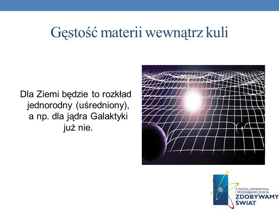 Gęstość materii wewnątrz kuli Dla Ziemi będzie to rozkład jednorodny (uśredniony), a np. dla jądra Galaktyki już nie.