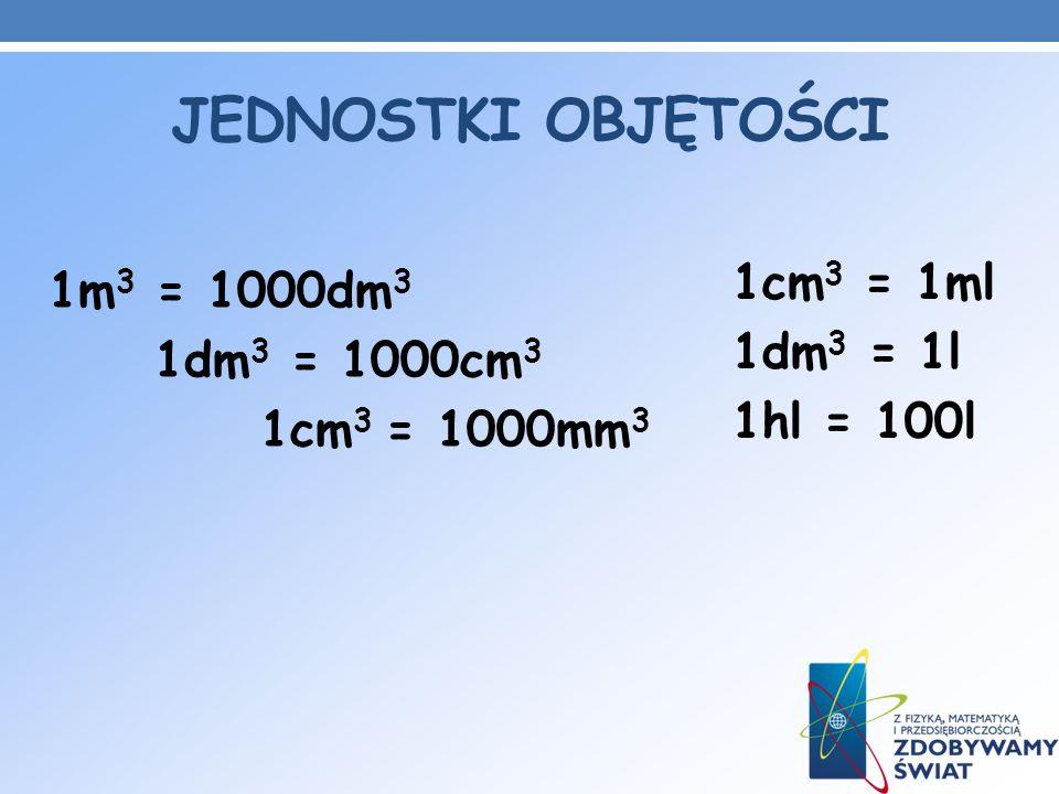 JEDNOSTKI OBJĘTOŚCI 1m 3 = 1000dm 3 1dm 3 = 1000cm 3 1cm 3 = 1000mm 3 1cm 3 = 1ml 1dm 3 = 1l 1hl = 100l