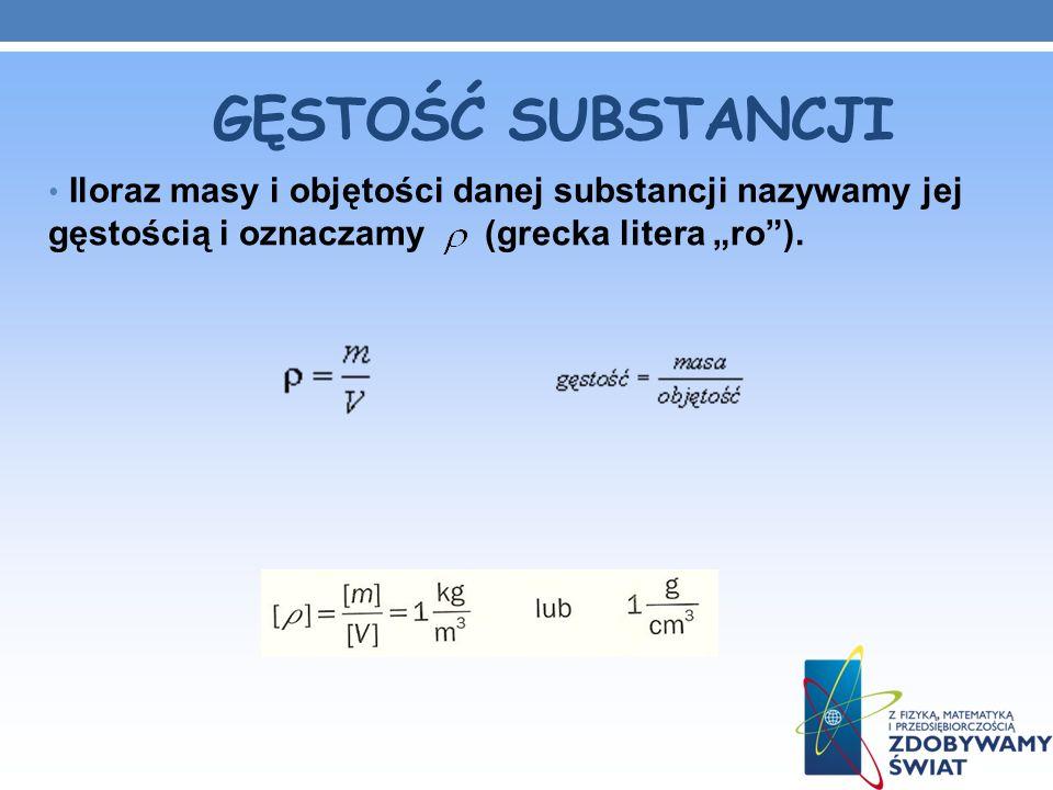 GĘSTOŚĆ SUBSTANCJI Iloraz masy i objętości danej substancji nazywamy jej gęstością i oznaczamy (grecka litera ro).