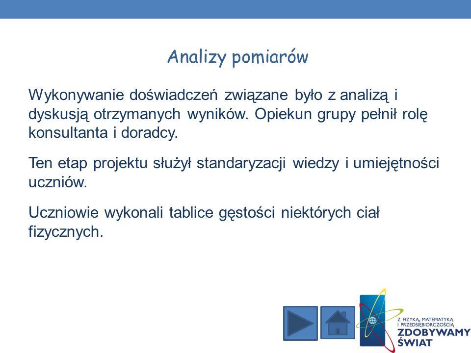 Wykonywanie doświadczeń związane było z analizą i dyskusją otrzymanych wyników.