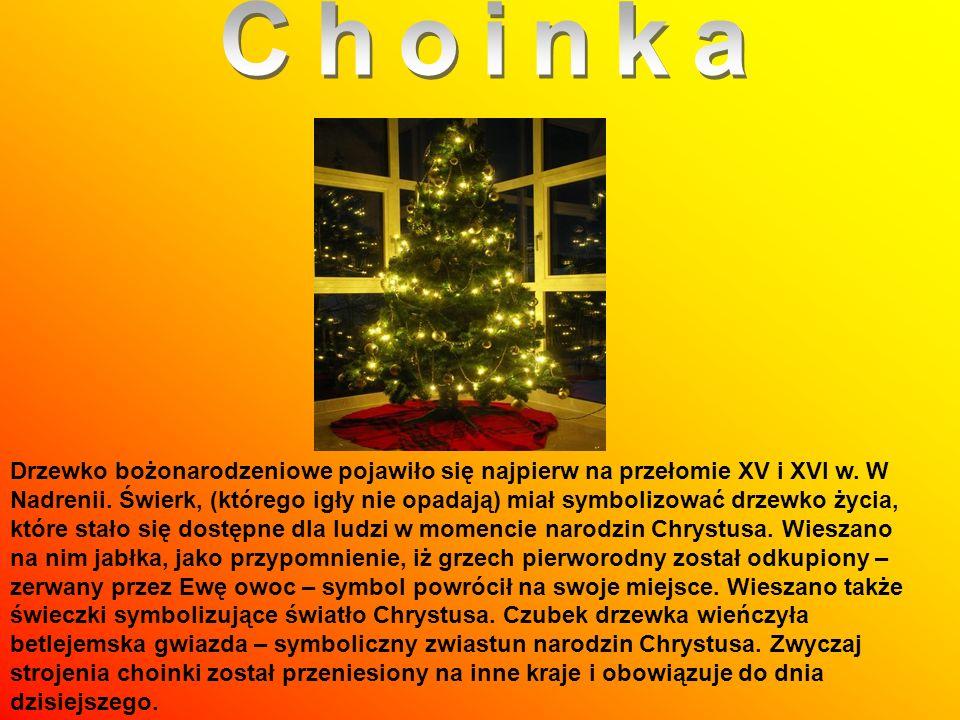 Drzewko bożonarodzeniowe pojawiło się najpierw na przełomie XV i XVI w. W Nadrenii. Świerk, (którego igły nie opadają) miał symbolizować drzewko życia