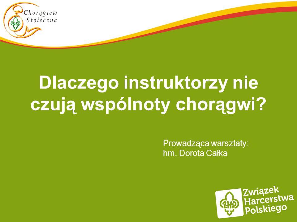 Dlaczego instruktorzy nie czują wspólnoty chorągwi Prowadząca warsztaty: hm. Dorota Całka