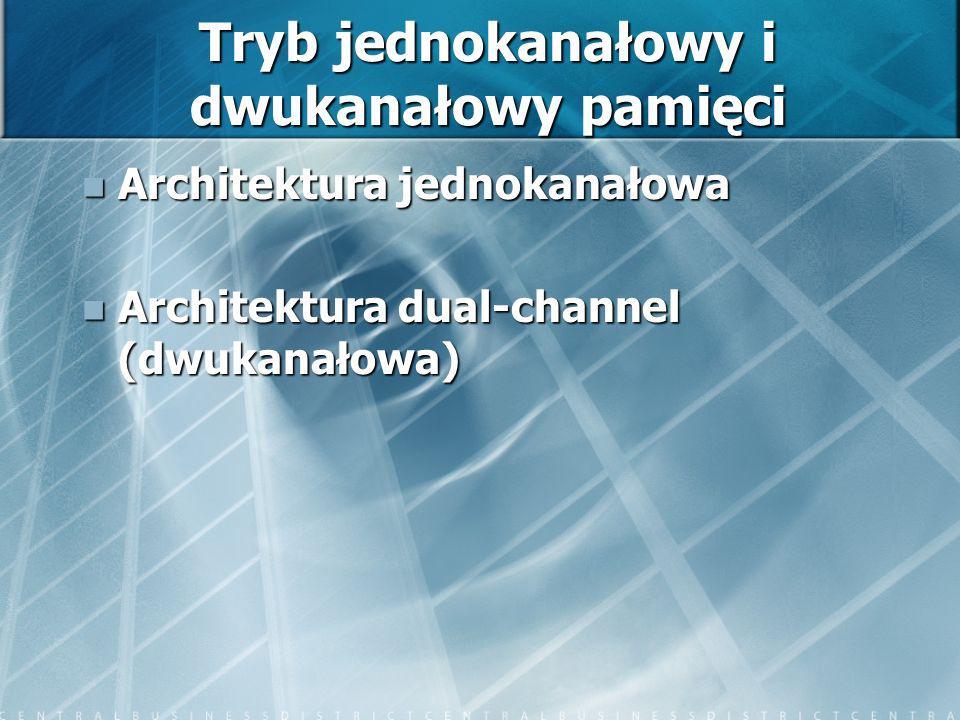 Tryb jednokanałowy i dwukanałowy pamięci Architektura jednokanałowa Architektura jednokanałowa Architektura dual-channel (dwukanałowa) Architektura du