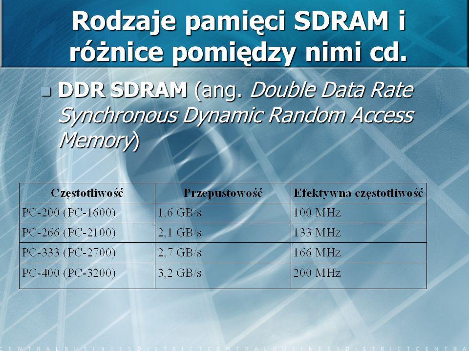 Rodzaje pamięci SDRAM i różnice pomiędzy nimi cd. DDR SDRAM (ang. Double Data Rate Synchronous Dynamic Random Access Memory) DDR SDRAM (ang. Double Da