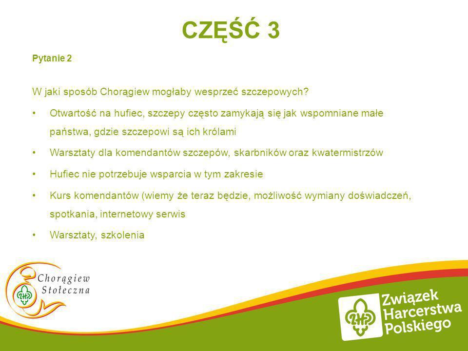 CZĘŚĆ 3 Pytanie 2 W jaki sposób Chorągiew mogłaby wesprzeć szczepowych? Otwartość na hufiec, szczepy często zamykają się jak wspomniane małe państwa,