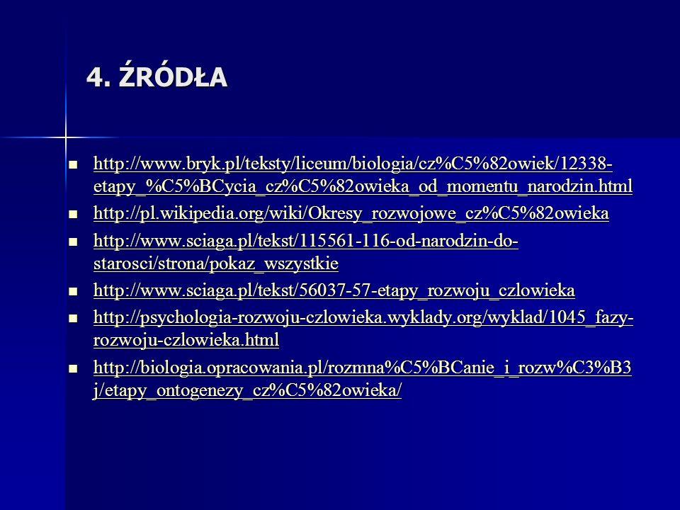4. ŹRÓDŁA http://www.bryk.pl/teksty/liceum/biologia/cz%C5%82owiek/12338- etapy_%C5%BCycia_cz%C5%82owieka_od_momentu_narodzin.html http://www.bryk.pl/t