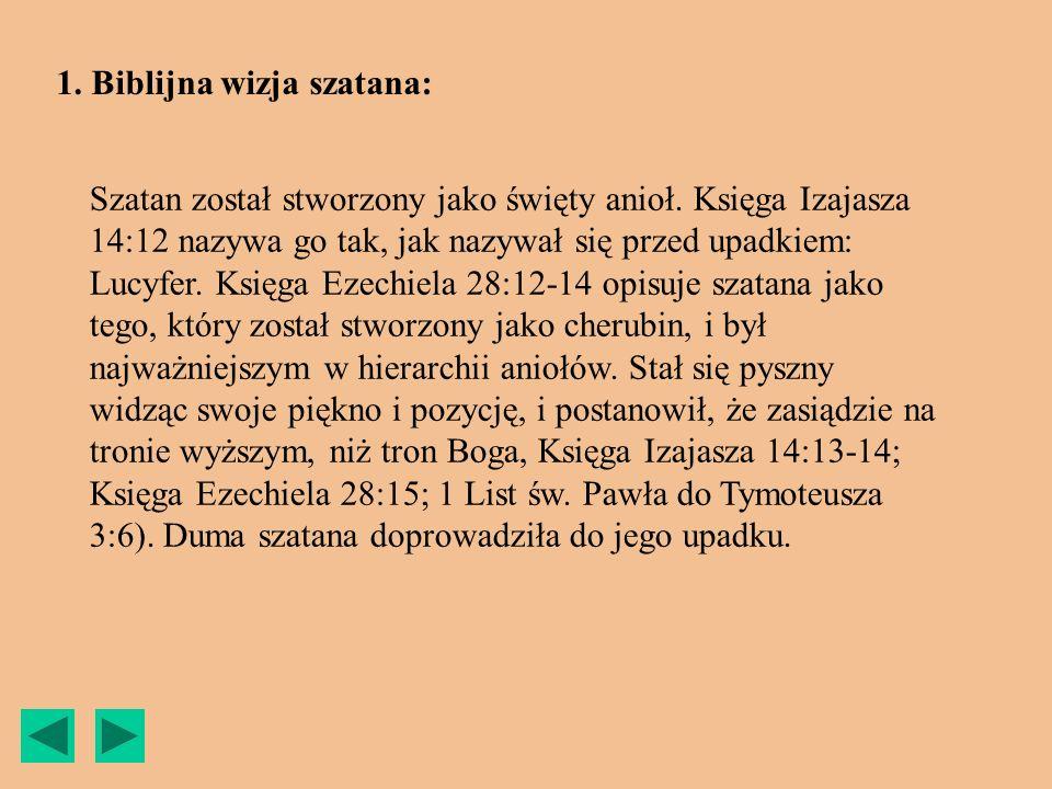 1. Biblijna wizja szatana: Szatan został stworzony jako święty anioł. Księga Izajasza 14:12 nazywa go tak, jak nazywał się przed upadkiem: Lucyfer. Ks