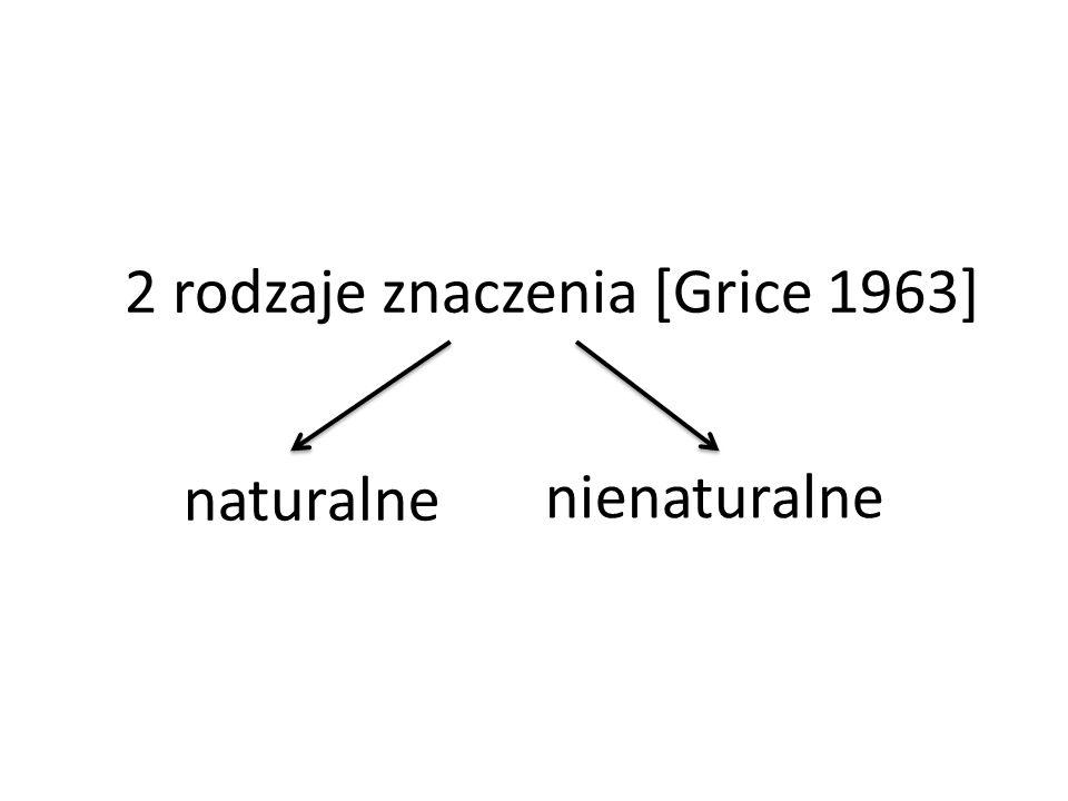 2 rodzaje znaczenia [Grice 1963] naturalne nienaturalne