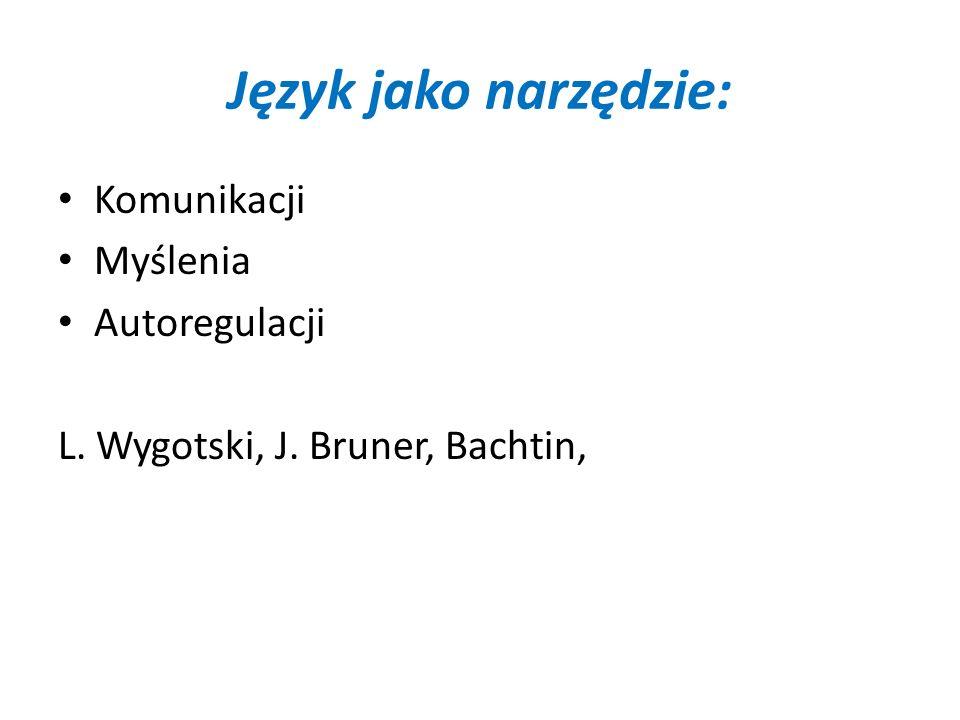 Język jako narzędzie: Komunikacji Myślenia Autoregulacji L. Wygotski, J. Bruner, Bachtin,