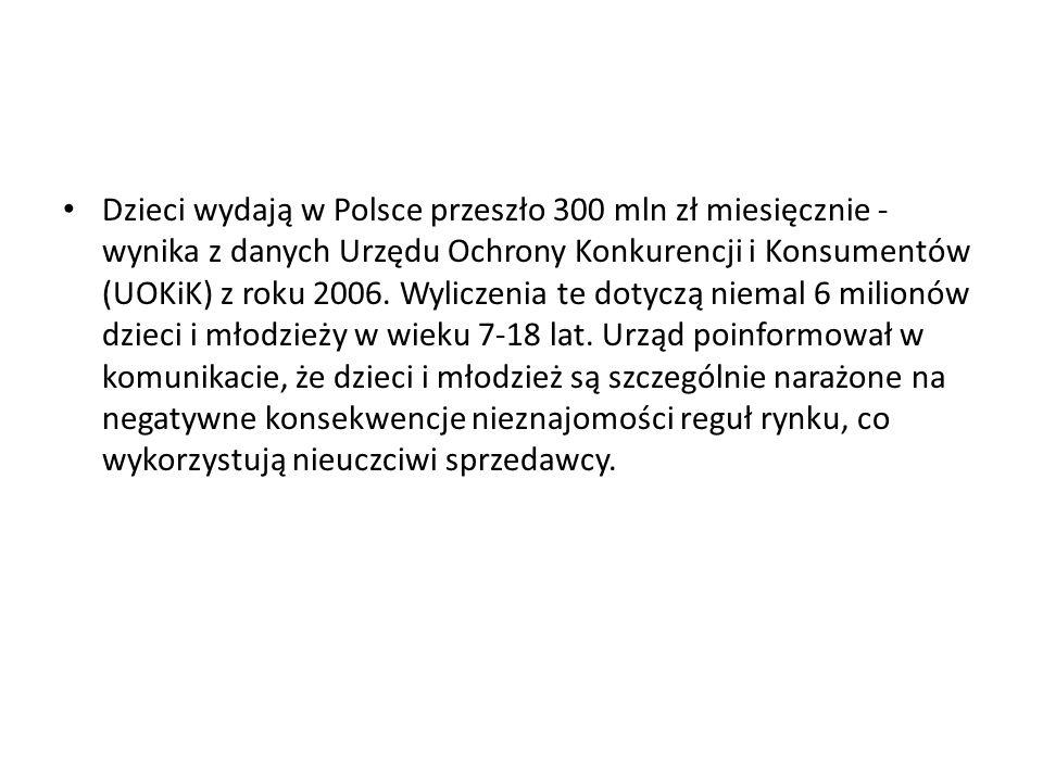 Dzieci wydają w Polsce przeszło 300 mln zł miesięcznie - wynika z danych Urzędu Ochrony Konkurencji i Konsumentów (UOKiK) z roku 2006. Wyliczenia te d