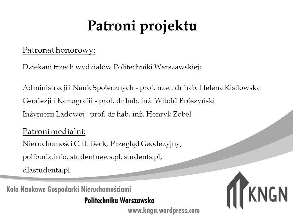 Patroni projektu Patronat honorowy: Dziekani trzech wydziałów Politechniki Warszawskiej: Administracji i Nauk Społecznych - prof. nzw. dr hab. Helena