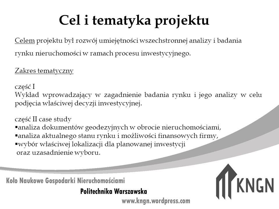 Cel i tematyka projektu Celem projektu był rozwój umiejętności wszechstronnej analizy i badania rynku nieruchomości w ramach procesu inwestycyjnego. Z