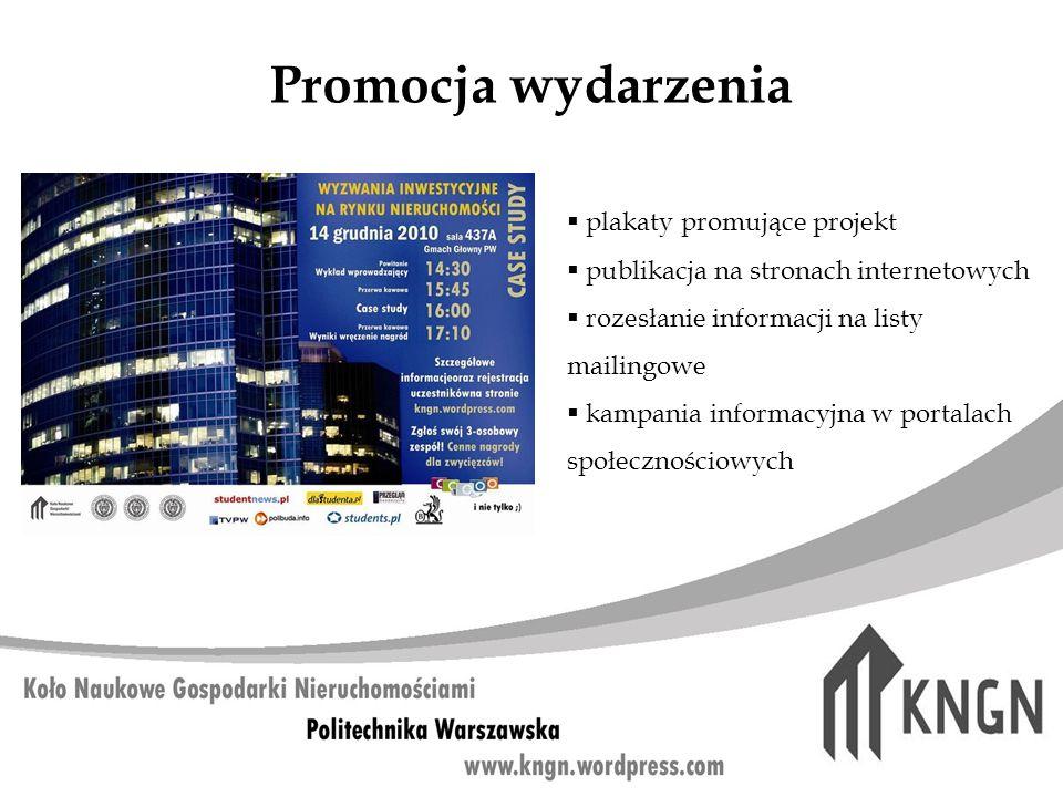 Promocja wydarzenia plakaty promujące projekt publikacja na stronach internetowych rozesłanie informacji na listy mailingowe kampania informacyjna w p