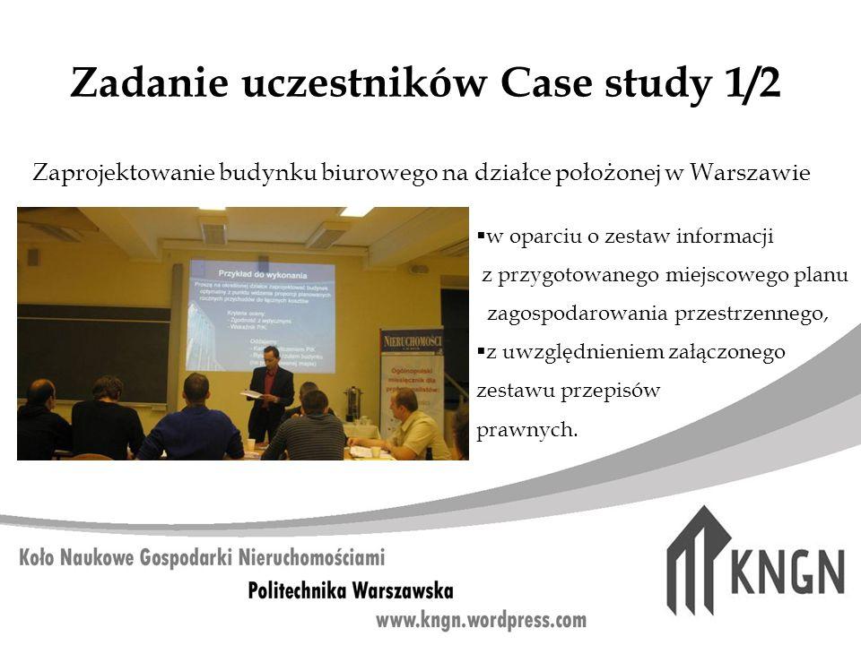 Zadanie uczestników Case study 1/2 w oparciu o zestaw informacji z przygotowanego miejscowego planu zagospodarowania przestrzennego, z uwzględnieniem