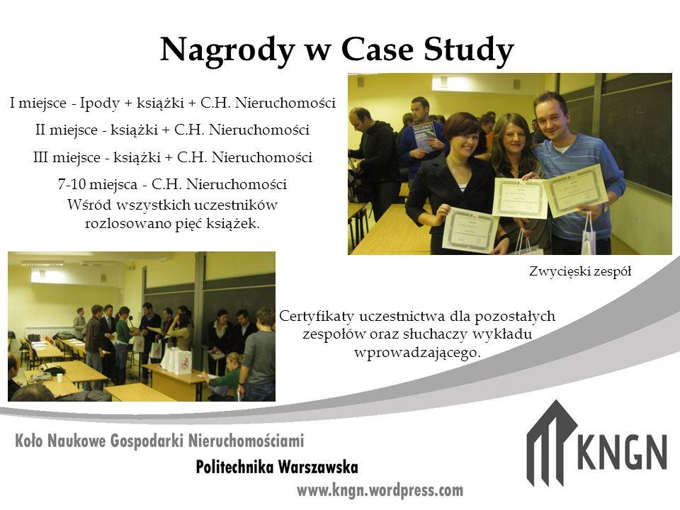 Nagrody w Case Study I miejsce - Ipody + książki + C.H. Nieruchomości II miejsce - książki + C.H. Nieruchomości III miejsce - książki + C.H. Nieruchom