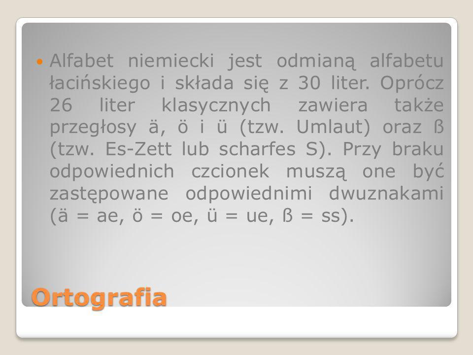 Ortografia Alfabet niemiecki jest odmianą alfabetu łacińskiego i składa się z 30 liter. Oprócz 26 liter klasycznych zawiera także przegłosy ä, ö i ü (