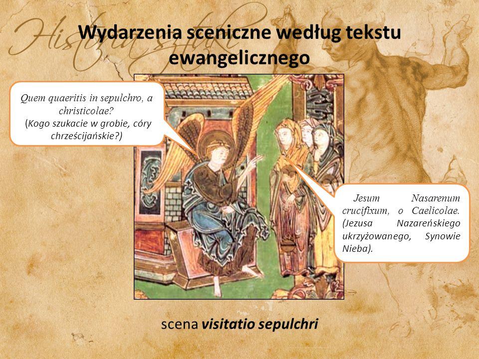 Wydarzenia sceniczne według tekstu ewangelicznego scena visitatio sepulchri Quem quaeritis in sepulchro, a christicolae.