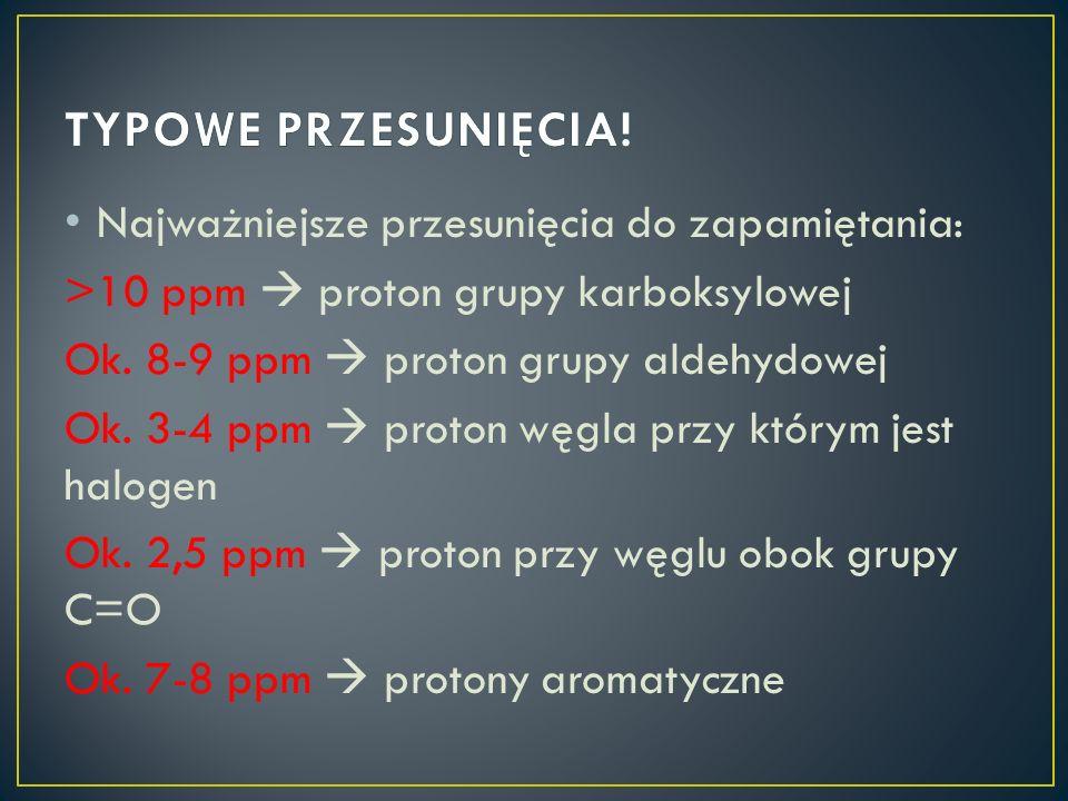 Najważniejsze przesunięcia do zapamiętania: >10 ppm proton grupy karboksylowej Ok. 8-9 ppm proton grupy aldehydowej Ok. 3-4 ppm proton węgla przy któr